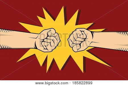 two hand fighting or clashes illustrate fight among other two thing vector