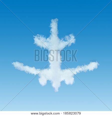 White plane shaped cloud flying away on blue sky background. 3D illustration.