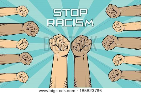 stop racism illustration with a lot of people hand show fights against it with diversity skin color vector