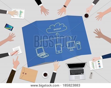 Cloud Service Concept backup data concept illustration with hand team work together on top of the table vector