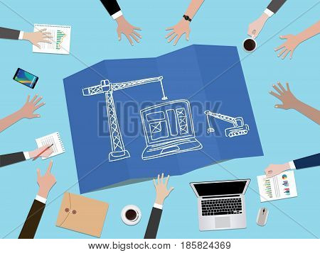 website development construction concept illustration with hand team work together on top of the table vector