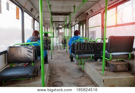 Smolensk, Russia - Februar 28, 2017: Inside view of russian bus passangers comes from factory to home.