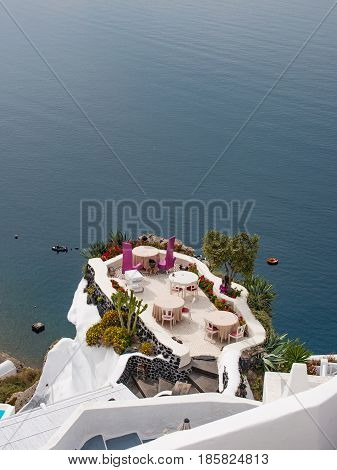 Outdoor luxury restaurant in Santorini island, Greece