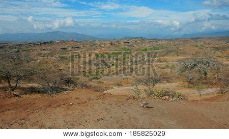 View of Desierto de la Tatacoa (Tatacoa Desert) in Villavieja, Huila / Colombia
