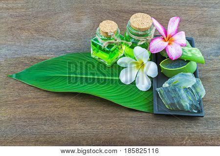 Slice Aloe Vera (Aloe barbadensis Mill.Star cactus Aloin Jafferabad or Barbados) white frangipani flowers and Aloe vera essential oil in green leaf on wooden