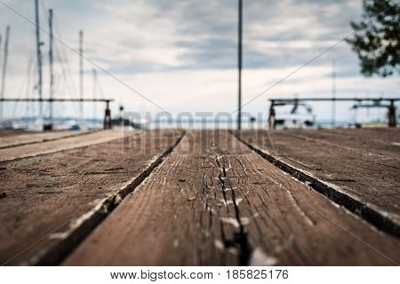 Sea Travel and Vacation Theme Image for Background Use selective focus on the wood