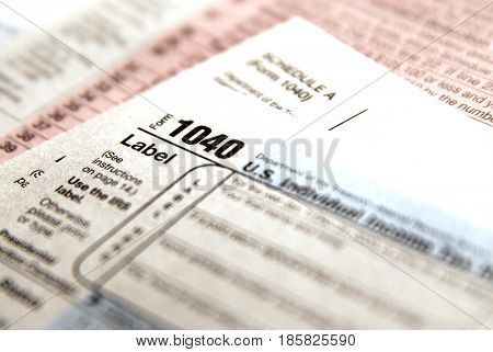 Tax forms for the IRS Income 1040 form