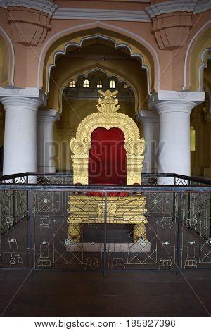 Madurai, Tamilnadu - India - March 21, 2017 - Ornamental Throne Of Nayak King