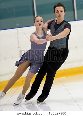 ST. PETERSBURG, RUSSIA - APRIL 18, 2017: Ice dancing competitions on prix of St. Petersburg Federation of Figure Skating. 150 athletes from 6 regions of Russia take part in the competitions