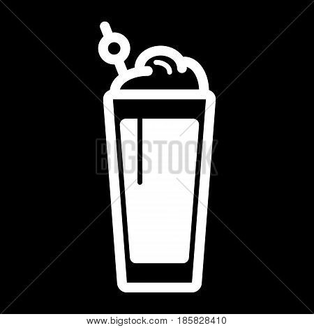 milkshake solid icon, refreshing beverage glass symbol. vector icon. eps 10