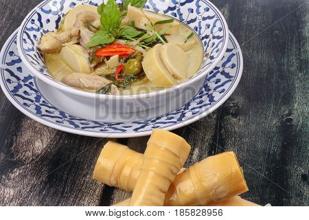 Green Chicken Curry In Coconut Milk With Soft Bamboo Pole Shoots .