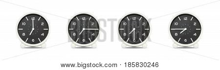 Closeup group of black and white clock with shadow for decorate show the time in 7 7:15 7:30 7:45 a.m. isolated on white background beautiful 4 clock picture in different time