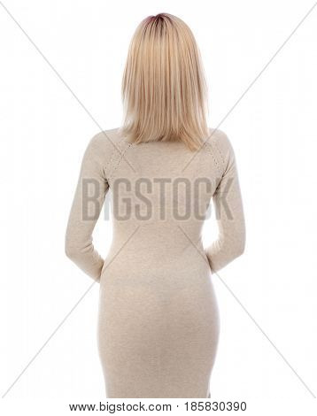 Blonde woman with beautiful straight hair isolated on white background
