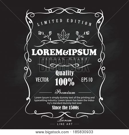 Hand drawn frame label vintage blackboard banner vector illustration