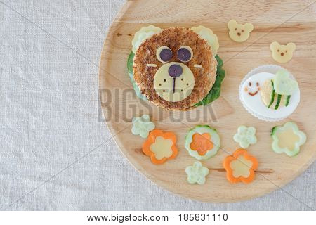 Bear And Bumble Bee Lunch Plate, Fun Food Art For Kids
