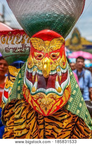 LOEI THAILAND - JUNE 27, 2015: Thai northeastern traditional Phi Ta Khon ghost festival parade in Dansai of Loei, Thailand.