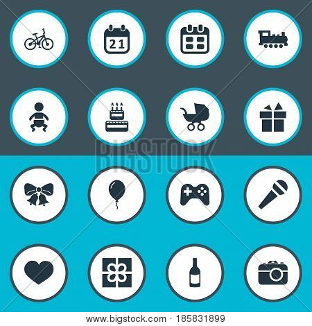 Vector Illustration Set Of Simple Holiday Icons. Elements Confectionery, Infant, Game And Other Synonyms Train, Fizz And History.