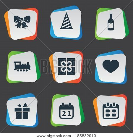 Vector Illustration Set Of Simple Birthday Icons. Elements Cap, Resonate, Special Day And Other Synonyms Resonate, Party And Date.