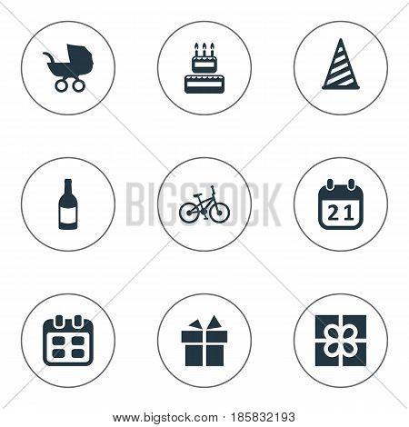Vector Illustration Set Of Simple Holiday Icons. Elements Beverage, Special Day, Box And Other Synonyms Beverage, Sweetmeat And Ribbon.