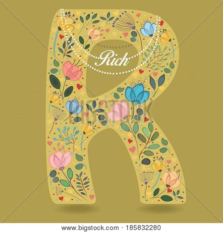Yellow Letter R with Folk Floral Decor. Colorful watercolor flowers and plants. Small hearts. Graceful pearl necklace with text Rich. Vector Illustration