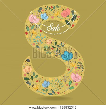 Yellow Letter S with Folk Floral Decor. Colorful watercolor flowers and plants. Small hearts. Graceful pearl necklace with text Sale. Vector Illustration