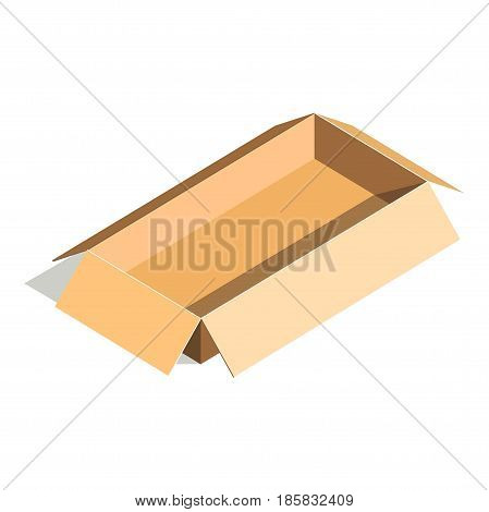 Empty container carton store package, delivery shipping open box in flat design. Compact blank parcel. Paper rectangular cardboard isolated on white vector illustration, realistic transportation pack