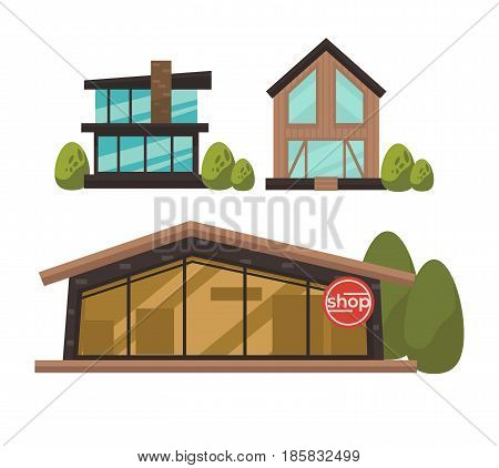 Three fashionable shops with french windows colorful vector poster in flat design. Buildings made of bricks and wood with big panoramic casements near green bushes and one with shop inscription