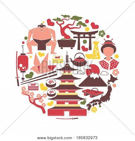 Japanese colorful attributes in isolated circle on white. Vector poster in flat design of traditional buildings, national dishes, sushi rolls, decorative trees, unusual shoes, special hairdos