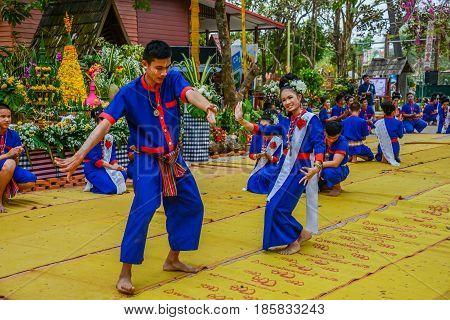 NAKORN PHANOM THAILAND - FEBRUARY 14, 2015: Thai northeastern dance in Phutai world event day in Renunakorn of Nakorn Phanom, Thailand.