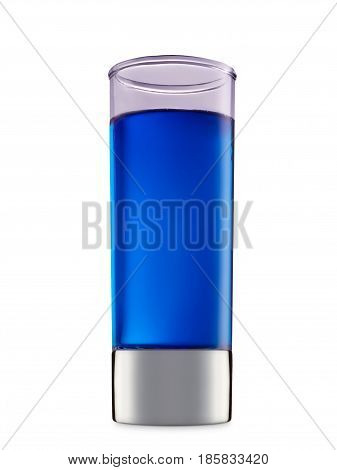 fresh fruit alcohol cocktail or mocktail in shot glass with blue beverage isolated on white background