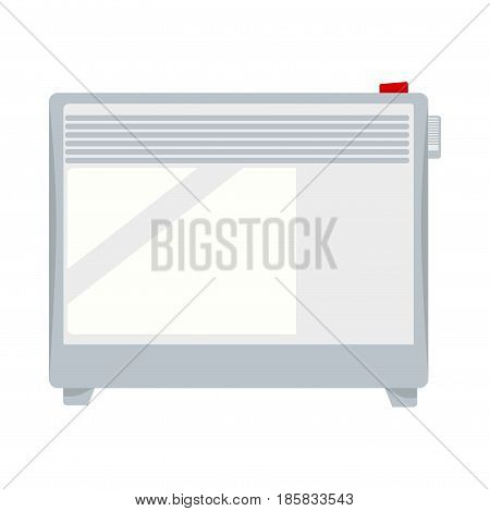 Electric powerful portable white heater with red button on top and adjusting wheel for warmth regulation on side and with knuckles at bottom isolated vector illustration. Heating equipment object