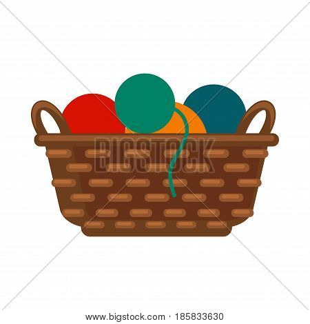 Wicker basket with colorful yarns vector illustration isolated on white background. Spun threads for knitting. Long thin strand of cotton, nylon or other fibers used in sewing or weaving in flat style