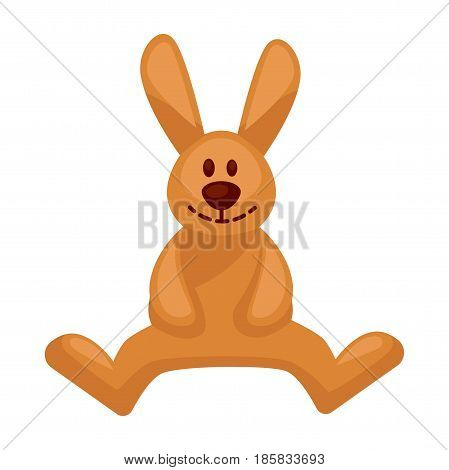 Plush toy hare with long ears vector illustration isolated on white background. Cartoon smiling rabbit for children play. Sticker of sitting bunny in flat design, stylish room decorative accessory