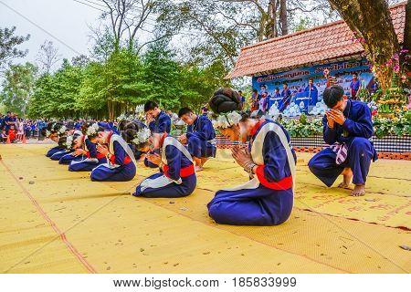 NAKORN PHANOM THAILAND - FEBRUARY 14, 2015: Thai northeastern dance in Phutai world event day in Renunakorn of Nakorn Phanom Thailand