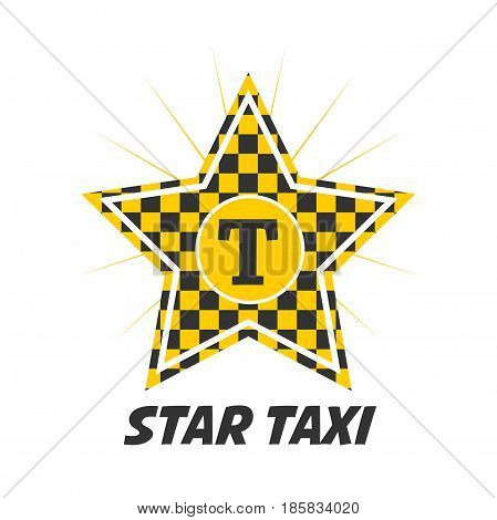 Star taxi logotype with checker in yellow and black colors isolated on white. Vector illustration in flat design of delivery passengers service, taxiing template badge for transport private service