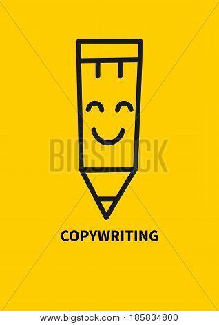 Logo copywriting. Smiling hand drawn pencil. Vector illustration.
