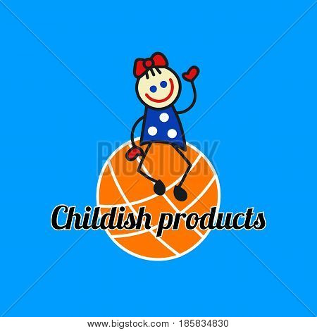 Logo kids products. Icon stick little girl sitting on big ball. Vector illustration.