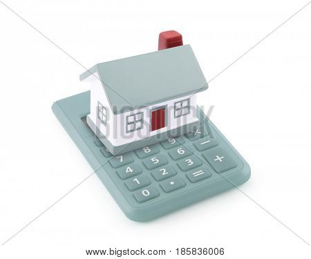 Small toy house on calculator