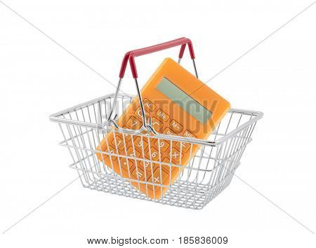 Shopping basket with orange calculator isolated on white background