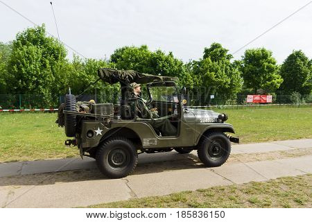 PAAREN IM GLIEN GERMANY - MAY 19: Willys Military Jeep The oldtimer show in MAFZ May 19 2013 in Paaren im Glien Germany