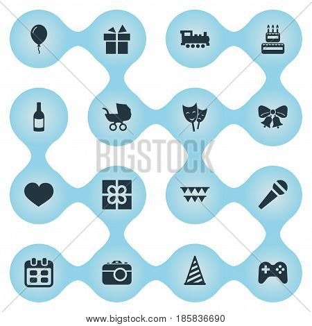 Vector Illustration Set Of Simple Birthday Icons. Elements Resonate, Baby Carriage, Days And Other Synonyms Present, Aerostat And Joystick.