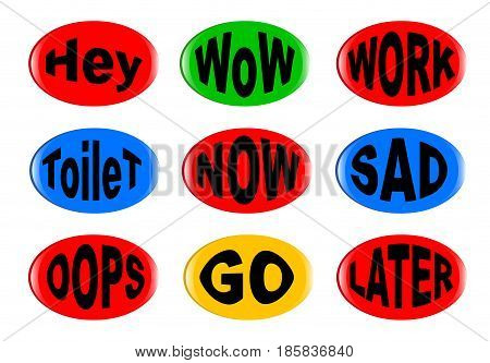 A collection of funny 3D buttons with various text instructions. Easy color change and resize.