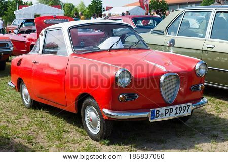 PAAREN IM GLIEN GERMANY - MAY 19: Microcar Goggomobil TS 250 Coupe The oldtimer show in MAFZ May 19 2013 in Paaren im Glien Germany
