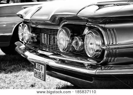 PAAREN IM GLIEN GERMANY - MAY 19: Full-size automobile Oldsmobile 98 (Ninety-Eight) black and white The oldtimer show in MAFZ May 19 2013 in Paaren im Glien Germany