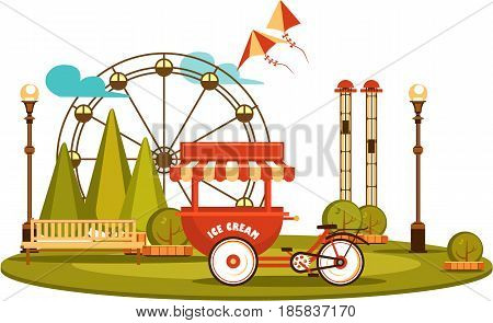 Vector illustration Amusement park and recreation trolley with ice cream cheerful fair show isolated
