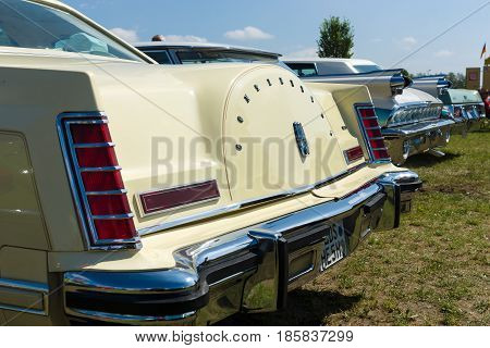 PAAREN IM GLIEN GERMANY - MAY 19: Personal luxury car Lincoln Continental Mark V rear view The oldtimer show in MAFZ May 19 2013 in Paaren im Glien Germany