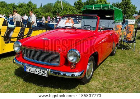 PAAREN IM GLIEN GERMANY - MAY 19: The two-door roadster Wartburg 312 300HT Coupe The oldtimer show in MAFZ May 19 2013 in Paaren im Glien Germany