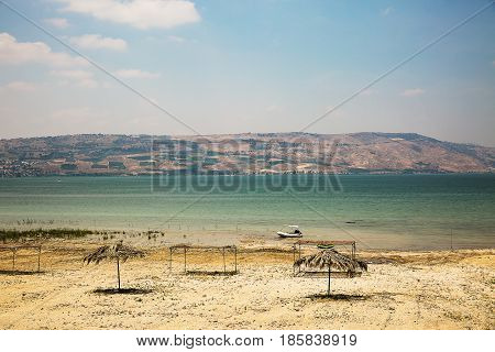 View of the sea of Galilee (Kineret lake) Israel .