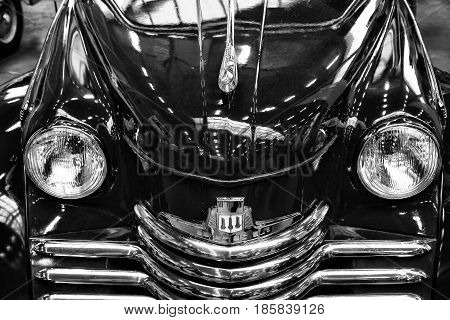PAAREN IM GLIEN GERMANY - MAY 19: Detail of the luxury car Opel Kapitan 1951 black and white