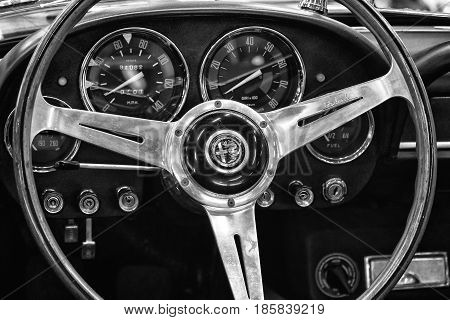 PAAREN IM GLIEN GERMANY - MAY 19: Cab Luxury car Alfa Romeo 2600 Spider black and white